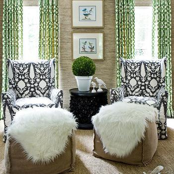 Green Curtains, Contemporary, living room, Melanie Turner Interiors