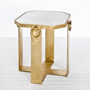 RINGED SMALL SIDE TABLE GOLD LEAF: ShopTen 25, Interior Design Dallas TX |
