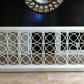Mirrored Credenza, Contemporary, entrance/foyer, Behr White Cloud