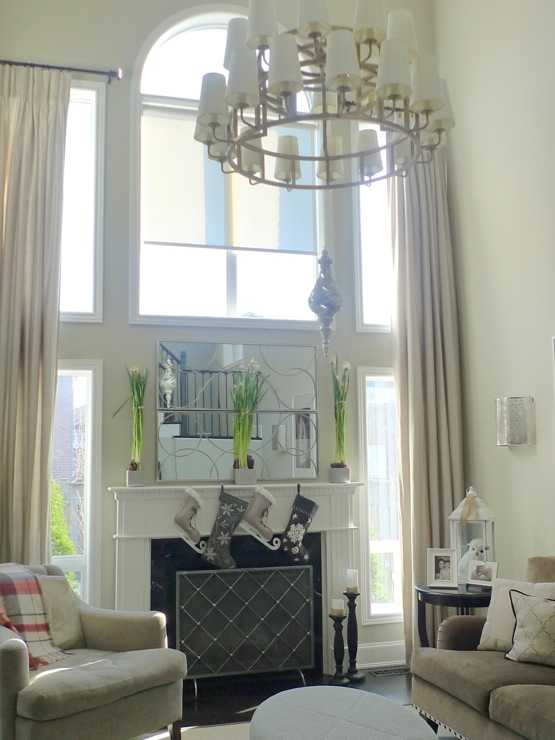 Drapes For Two Story Room Design Ideas
