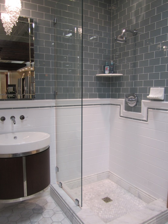 ceramic and glass walls with carrara marble floors tile from the tile