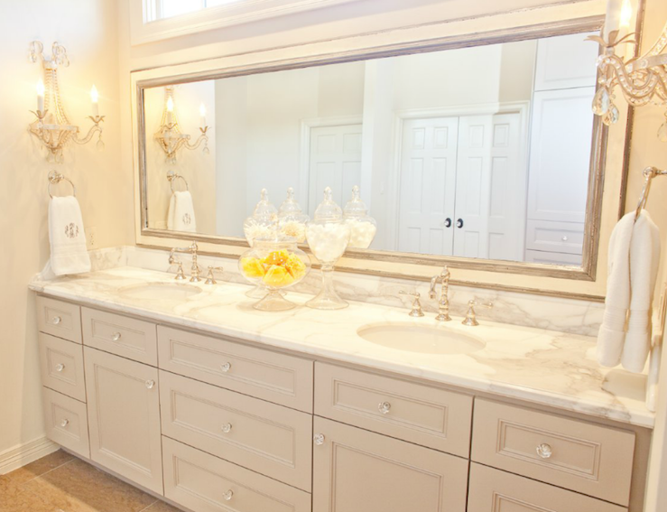 Beautiful Bathroom For Two! Extra Double Wide Bathroom Cabinet Vanity  Painted Gray With Marble Countertops, Double Sinks, Silver Leaf Beveled  Wood Mirror ...