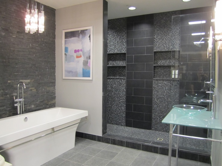Bathroom for Salle de bain mosaique grise