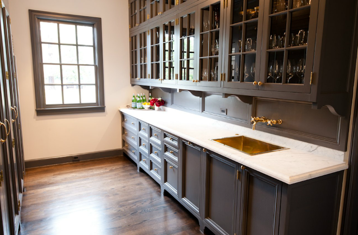 gray ish brown painted kitchen cabinets with gold tone hardware, gold