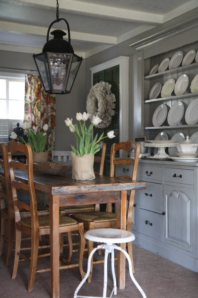 Beautiful Kitchen Design With Iron Lantern Rustic Dining Table Matching Chairs White Industrial Stool Gray Walls Paint Color And Buffet Hutch Painted