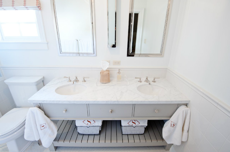 custom double bathroom vanity painted a gorgeous gray  marble  countertops  polished nickel  faucet kits  Restoration Hardware Pierce  Sconce and  Restoration Hardware Pierce Sconces Design Ideas. Kent Bathroom Vanity Restoration Hardware. Home Design Ideas