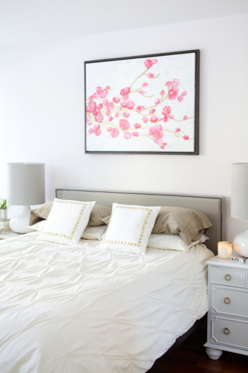 View Full Size. Chic Bedroom Design With West Elm Nailhead Upholstered  Headboard ...