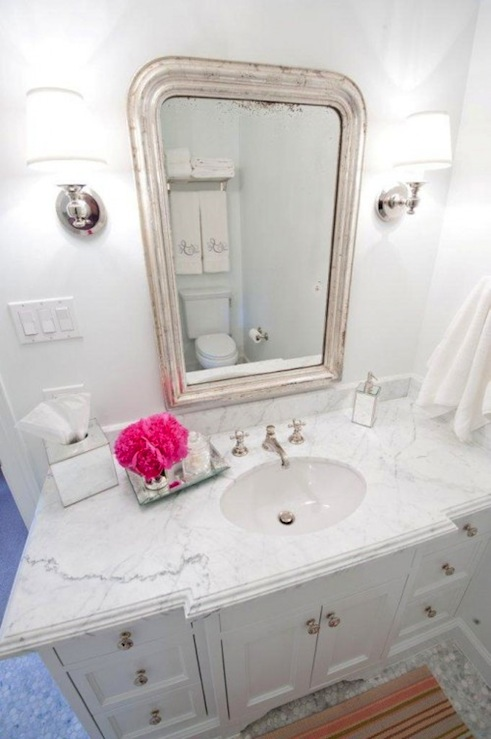 Chic White Bathroom With Single Vanity Cabinet Marble Countertops Lots Of Grey Veining Vintage Silver Mirror Restoration Hardware