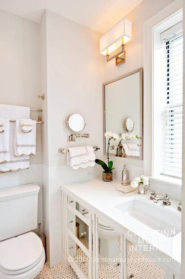 Grey bathroom vanity transitional bathroom r higgins - Mirrored bathroom cabinet with lights ...