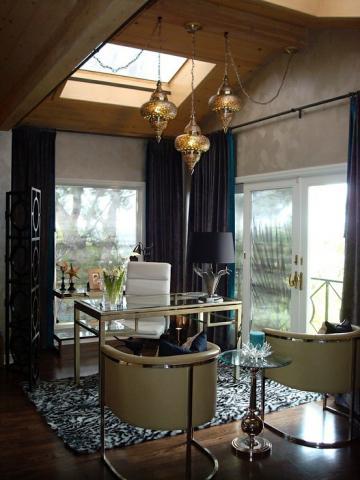 Quatrefoil Drapes Transitional Bedroom Heather Scott