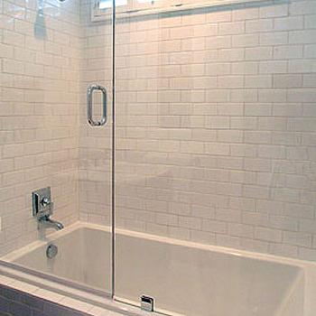 Glass Shower Doors View Full Size Clean Crisp White Bathroom With Beveled Subway Tiles Surround