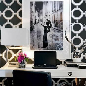 White Lacquer Desk, Contemporary, den/library/office, Atmosphere Interior Design