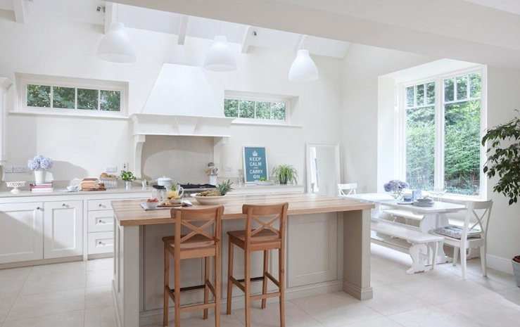 White Trestle Dining Table, Transitional, kitchen, Farrow & Ball Wimborne White, Noel Dempsey