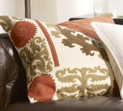 Pottery Barn Decorative Pillow Covers : Suzani Embroidered Pillow Cover - Warm - Pottery Barn