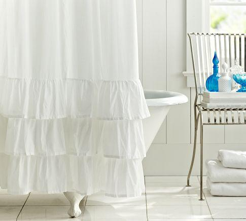 ruffle shower curtain pottery barn