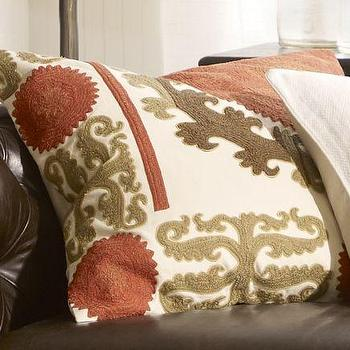 Suzani Embroidered Pillow Cover, Warm, Pottery Barn
