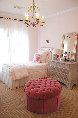 Pink velvet ottoman french girl 39 s room sally wheat for Sophisticated feminine bedroom designs
