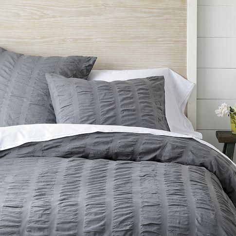 Organic Seersucker Duvet Shams True Gray West Elm