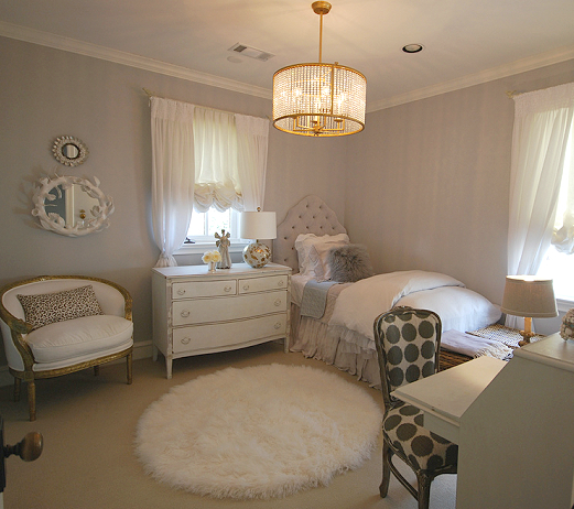 Gray girl 39 s room french girl 39 s room martin senour paints cindersmoke sally wheat interiors - Girl room interiour ...