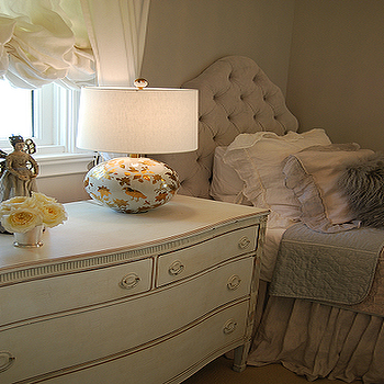 Tufted Twin Headboard, Traditional, girl's room, Martin Senour Paints Cindersmoke, Sally Wheat Interiors