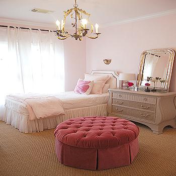 Pink Velvet Ottoman, French, girl's room, Sally Wheat Interiors