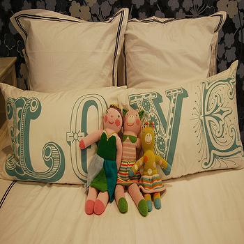 LOVE Pillows, Contemporary, girl's room, Sally Wheat Interiors