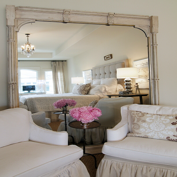 Shabby Chic Bedroom Design With Vintage White Washed Floor Mirror