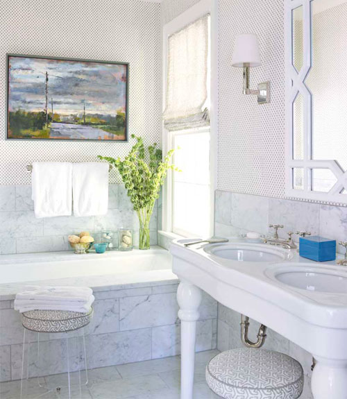 lucite stool transitional bathroom house beautiful