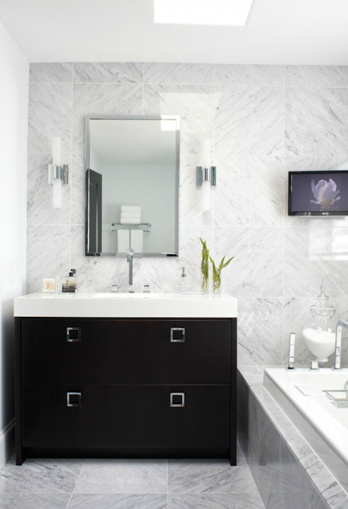 Black Vanity With White Marble Countertop Traditional