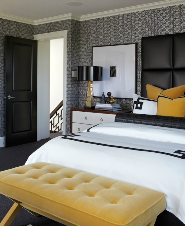 Black White and Yellow Bedroom Ideas - Contemporary ...