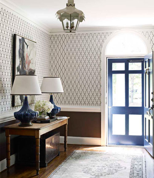 Blue Foyer Door : Quatrefoil wallpaper eclectic entrance foyer house