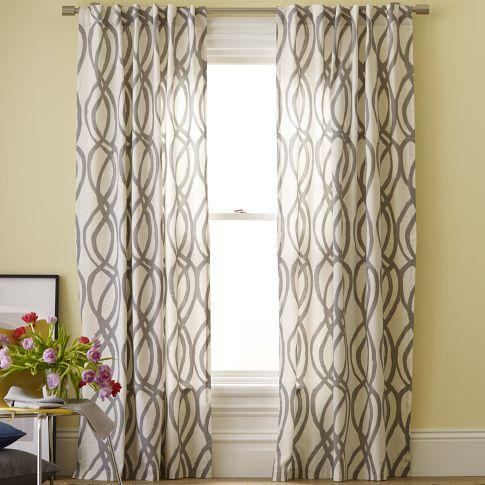 Cotton canvas printed window panel scribble lattice for West elm window treatments