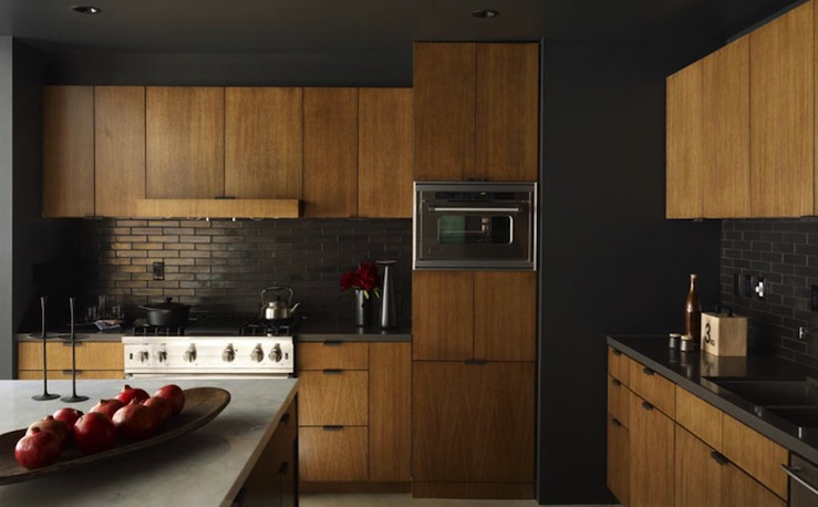 Black kitchen backsplash contemporary kitchen curated for Dark walls in kitchen