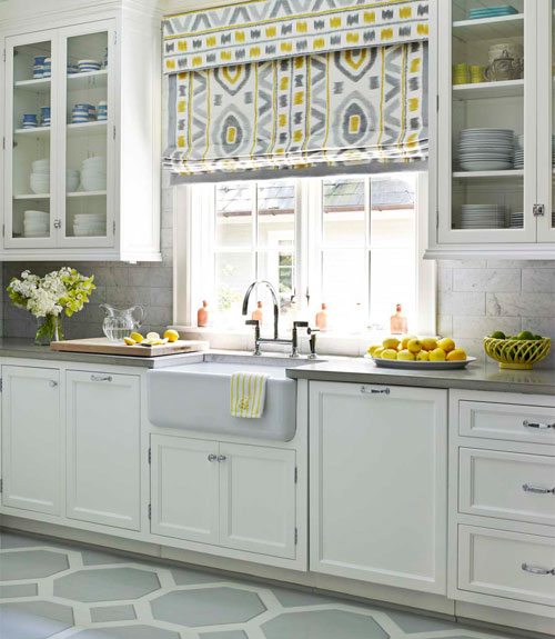 Pale Yellow Kitchen Cabinets: Yellow And Gray KItchen