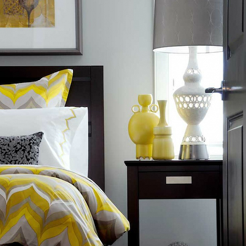 Yellow and Gray Bedroom, Contemporary, bedroom, Atmosphere Interior Design