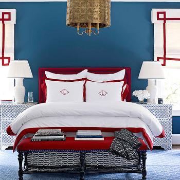 Blue and Red Boy's Room, Contemporary, bedroom, Benjamin Moore Van Deusen Blue, House Beautiful