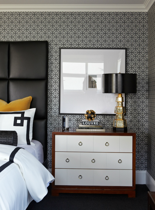 Black leather headboard contemporary bedroom atmosphere interior design - Grey and gold bedroom ...