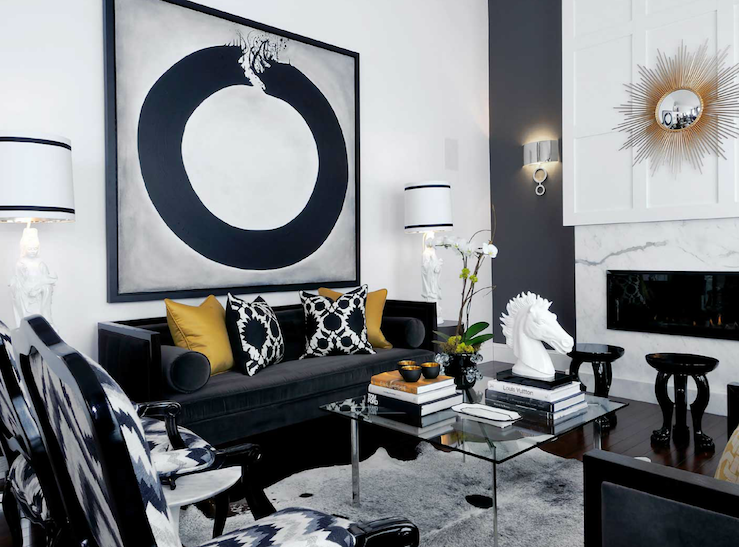 Black velvet sofa contemporary living room for Gold and black living room ideas