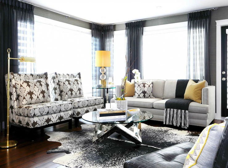 Kelly wearstler fabric transitional entrance foyer for Yellow modern living room ideas