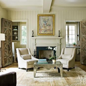 Mirrored Coffee Table, Cottage, living room, Atlanta Homes & Lifestyles
