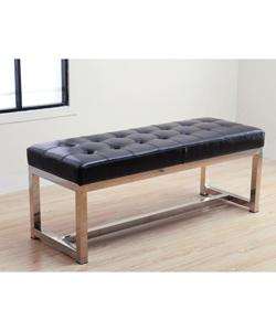 Liberty Black Leather Tufted Bench