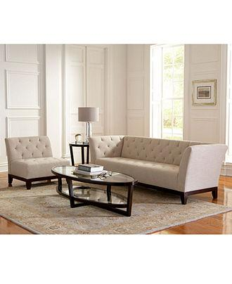 Tory ivory tufted living room furniture collection - Ivory painted living room furniture ...