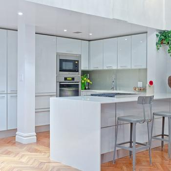High Gloss Kitchen Cabinets, Contemporary, kitchen, Benjamin Moore Super White, Marie Burgos Design