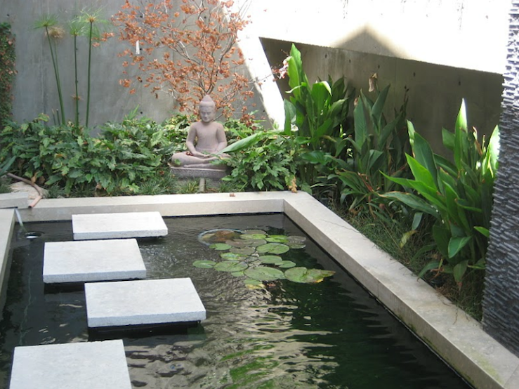 Zen garden asian garden nadia designs for Contemporary koi pond design