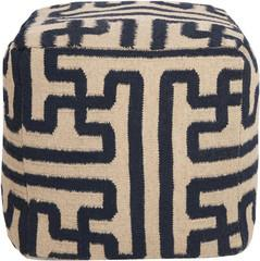 Greek Key Pouf in Navy Blue, Vielle and Frances