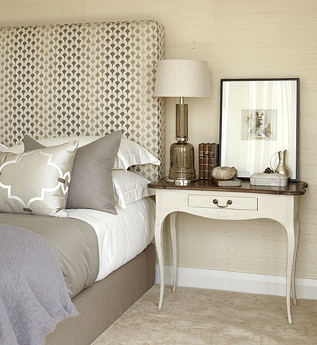 Gray bedroom contemporary bedroom kim stephen for Bedroom ideas with upholstered headboards