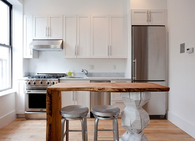 Contemporary White Shaker Kitchen reclaimed wood countertops - contemporary - kitchen - the brooklyn