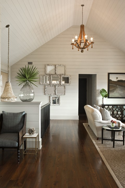 Oly studio isa chandelier cottage living room brown - How to decorate high walls with cathedral ceiling ...