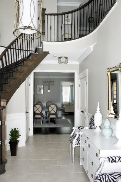 Revere Pewter Pictures, Contemporary, entrance/foyer, Benjamin Moore Revere Pewter, AM Dolce Vita