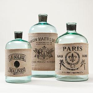 decorated glass bottles. Glass Bottles with Burlap Labels  Decorative Accessories Home Decor World Market